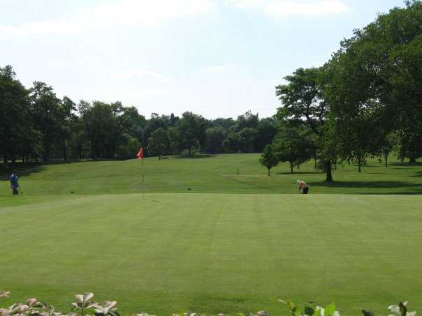 A view of the 9th green at Carroll Park Golf Course