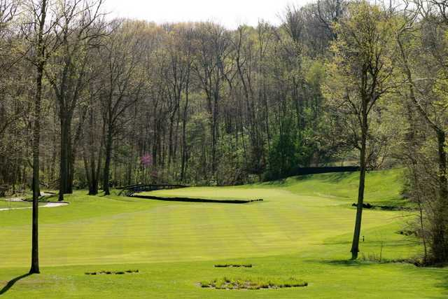 A view of hole #18 at Sycamore Course from Eagle Creek Golf Club