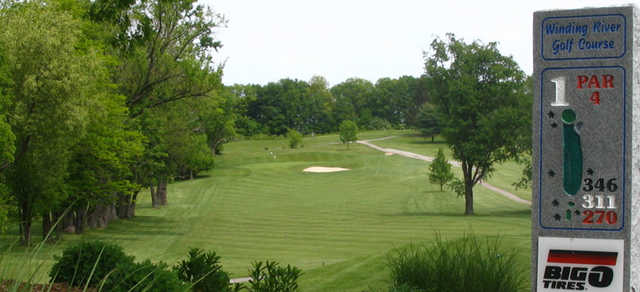 A view of hole #1 at Winding River Golf Club.
