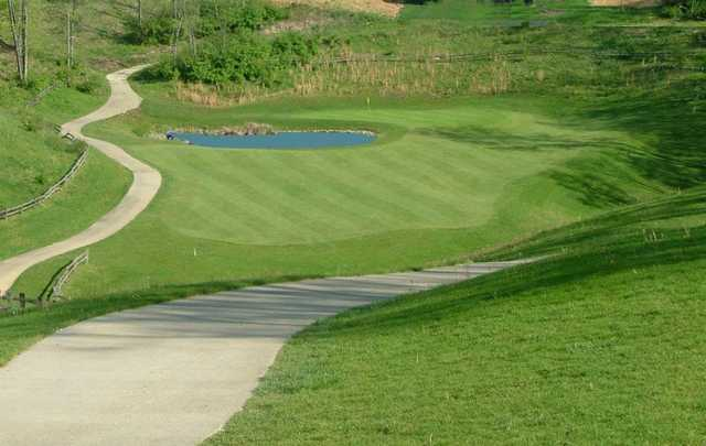 A view of a hole with narrow path on the left side at Sugar Ridge Golf Club