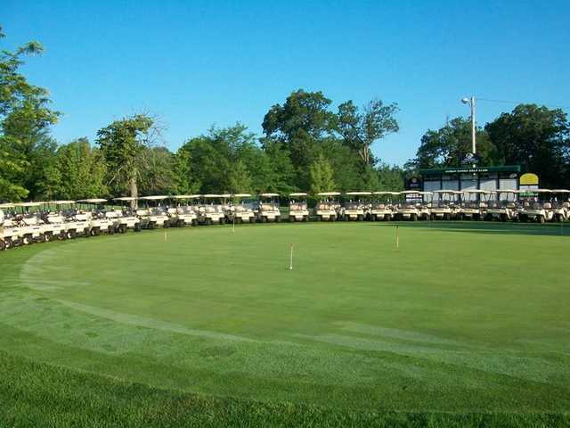 A view of the practice putting green at Cedar Creek Golf Course