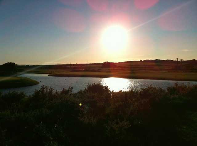 Sunset over the 4th hole from the Newtown course at Tramore Golf Club