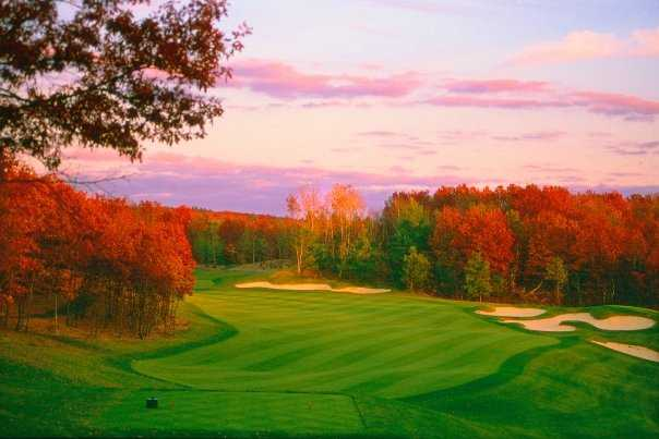 A beautiful autumn view from tee #2 at Oaks course at International Golf Club