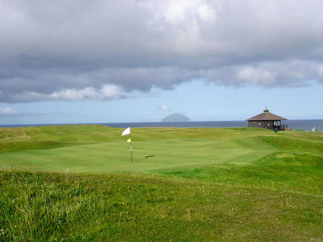A view from the 9th green looking back down the fairway at Ailsa Course from Trump Turnberry Resort