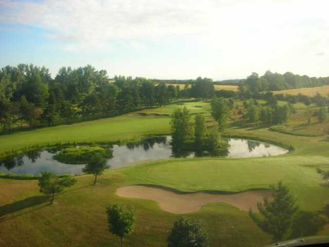 Aerial view of the 6th green from Championship course at Brooklea Golf and Country Club