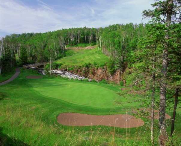 A view of the 6th green from the Canyon course at Superior National at Lutsen