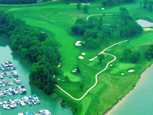 Aerial view of the 5th hole from Harbor Links at Sagamore Resort