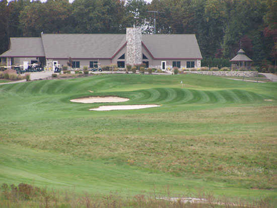 A view of a well protected hole at Chesapeake Run Golf Club.