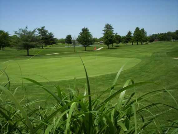 A view of a hole and a fairway at Sahm Golf Course