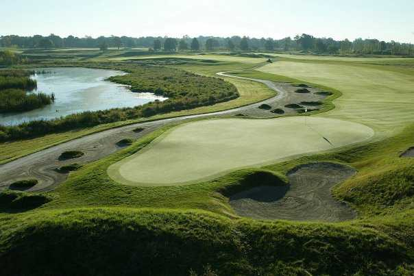 A view of the 6th green at Kampen Course from Birck Boilermaker Golf Complex