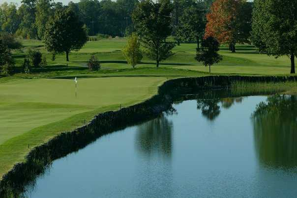 A view of hole #17 with water coming into play from right at Kampen Course from Birck Boilermaker Golf Complex
