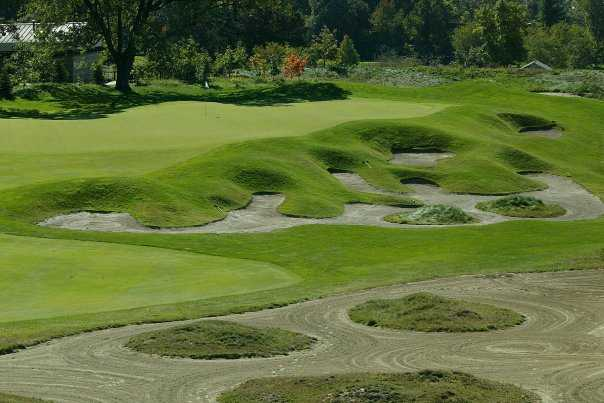 A view of hole #18 at Kampen Course from Birck Boilermaker Golf Complex