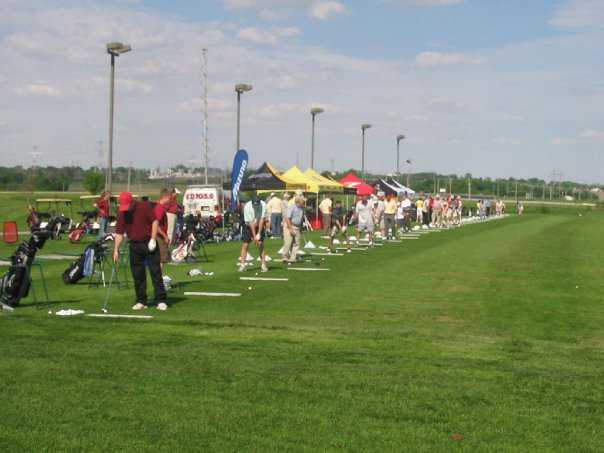 A view of the driving range tees at Eagle Hills Golf Course