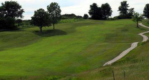 A view of fairway with narrow path on the right side at Hail Ridge Golf Course