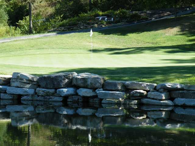 A view over the water of the 7th hole at Thousand Hills Resort & Golf Club.