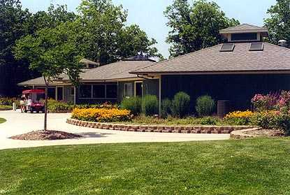 A view of the clubhouse at Lake of the Woods Golf Course