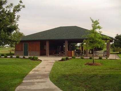 A view of the pavilion at Cherry Oaks Golf Club