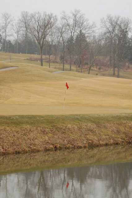 A view over the water of green at Wolf Hollow Golf Club