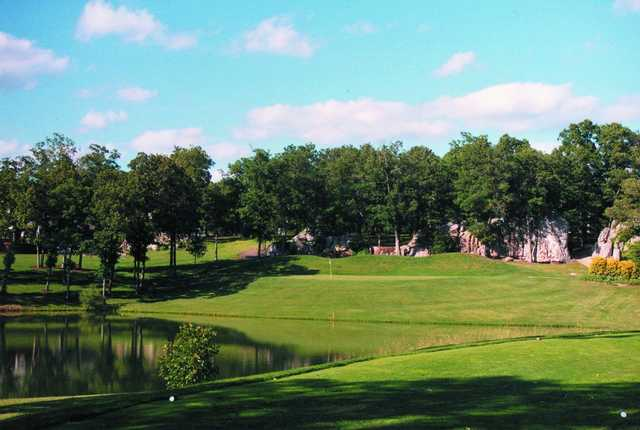 A view of a green with water coming into play at Indian Rock Golf Club