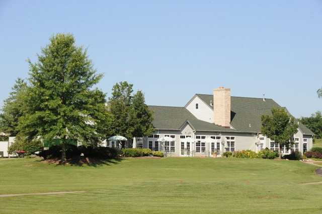 A view of the clubhouse from the 10th tee at Falls Golf Club