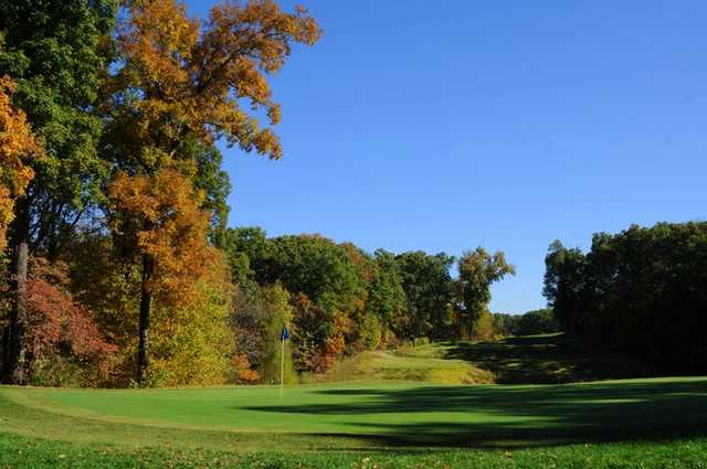 A view of green #14 looking back toward the tee at Missouri Bluffs Golf Club