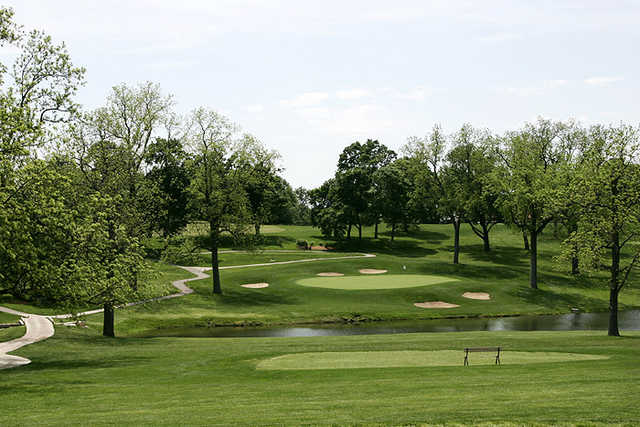 A view of hole #4 protected bu sand traps at St. Joseph Country Club