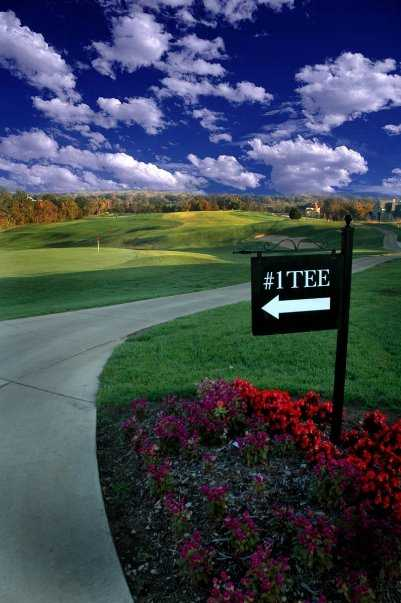 A view of tee #1 sign at Pevely Farms Golf Club