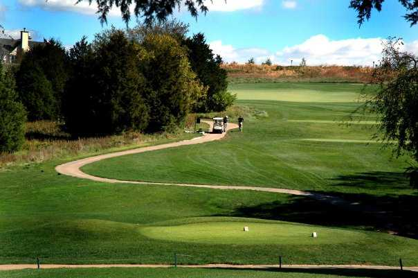 A view of tee, fairway and green at Pevely Farms Golf Club