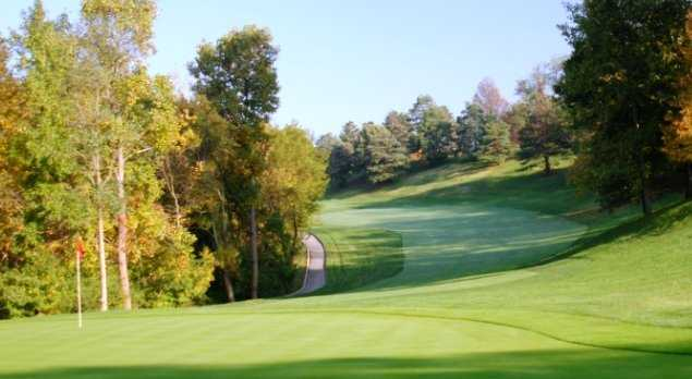 A view of a green and a fairway at Kenview Course from Kenwood Country Club.