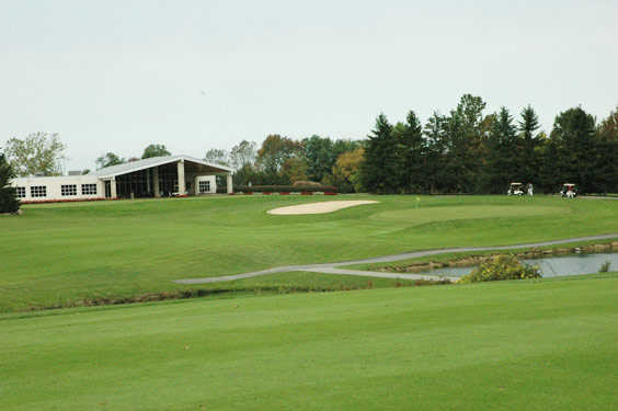 A view of the clubhouse at Pine Hills Golf Club.