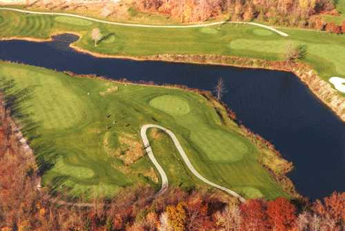 A fall aerial view from Reserve Run Golf Course