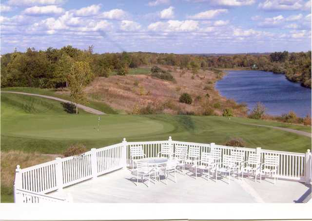 A view from the clubhouse balcony at Reserve Run Golf Course