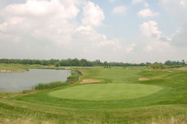 A view of hole #17 with water coming into play from left at Kearney Hill Golf Links