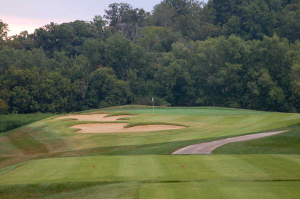 A view from tee #5 of green protected by sand traps at Heritage Hill Golf Club