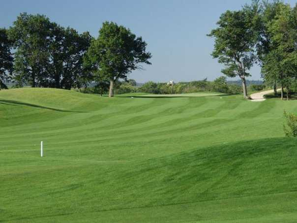 A view of green #10 from the rough between the 10th and 18th fairways at Championship Course from Gopher Hills Golf Course