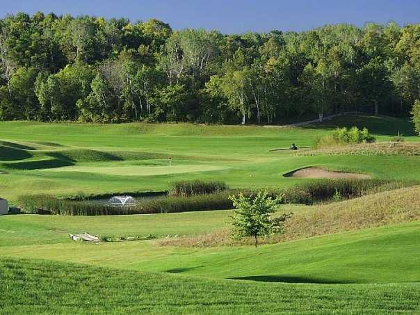 A view of hole #11 from behind the 10th green at Championship Course from Gopher Hills Golf Course