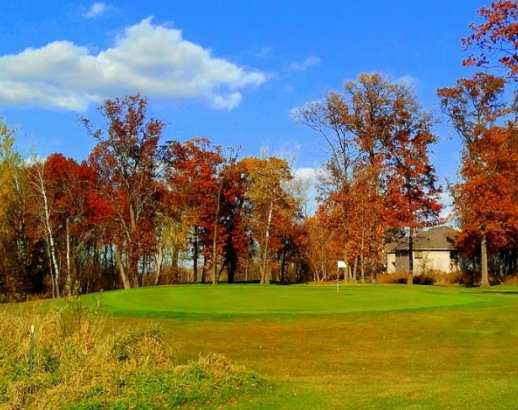A view of green #4 at Blue Golf Course from Ponds Golf Club