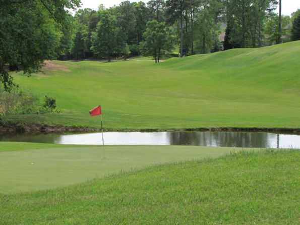 A view of a hole with water coming into play at River Falls Plantation