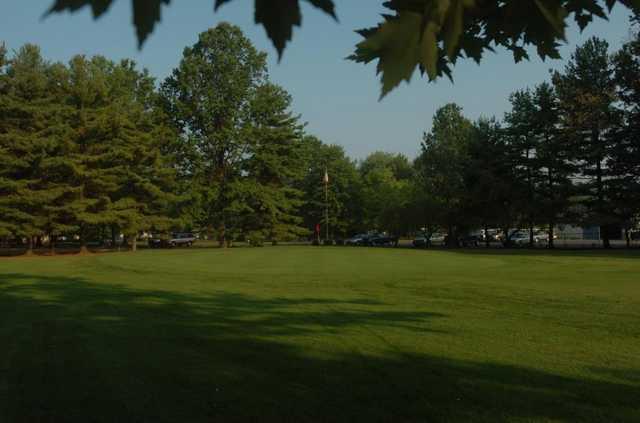 A view of a green at Hidden Oaks Golf Course