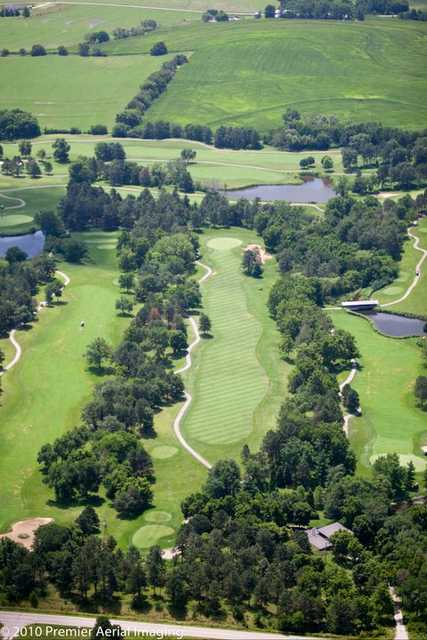 Aerial view of the signature hole #6 at Woodland Hills Golf Course