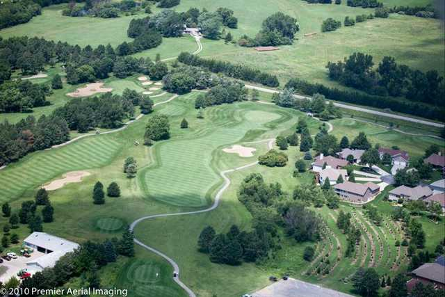 Aerial view of the 10th hole at Woodland Hills Golf Course
