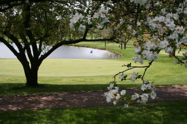 A spring view of green with water coming into play at Kimberton Golf Club