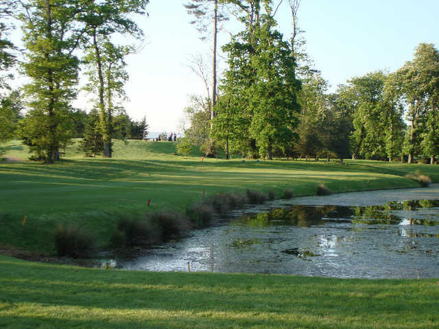 A view of the 8th green with water coming into play at Gowran Park Golf and Race Course.