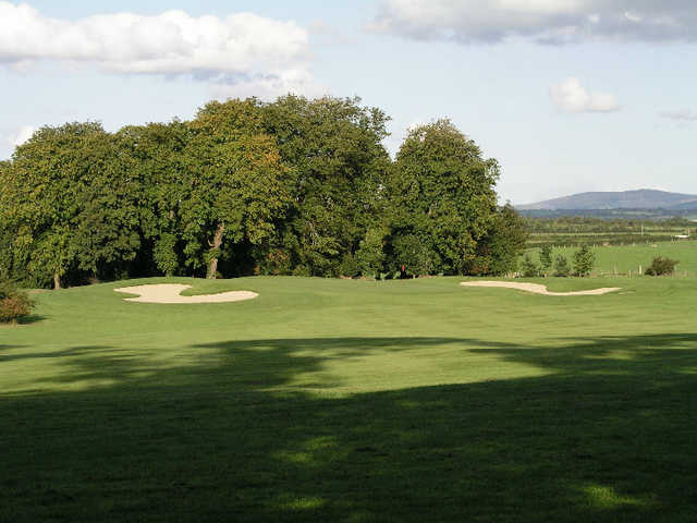 A view of hole #6 flanked by bunkers at Gowran Park Golf and Race Course.
