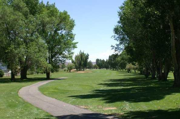 A view from tee with narrow path on the left at Roosevelt Golf Course