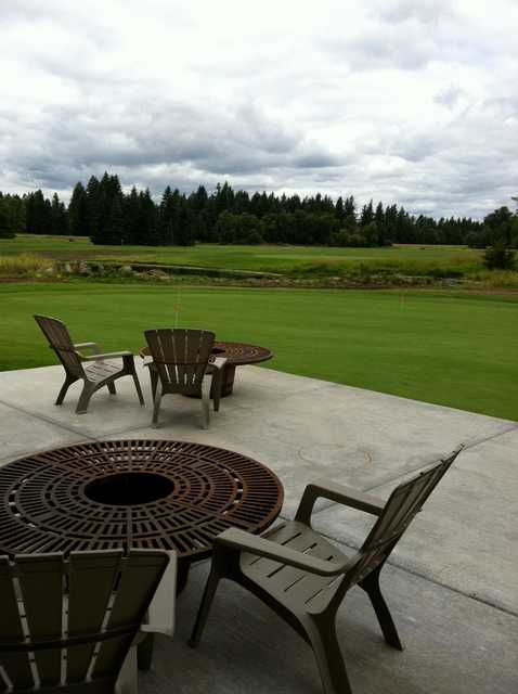 A view of the practice putting green at Eagle Creek Golf Course