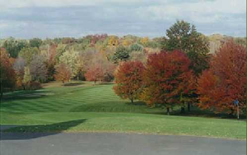 A fall view of the 18th hole at Crestview Country Club