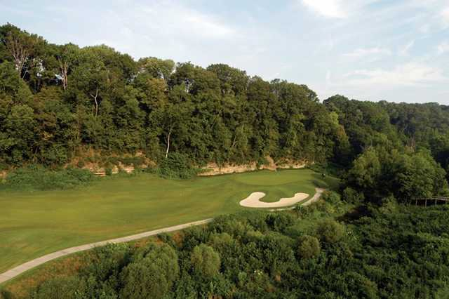 A view of green #5 at Gaylord Springs Golf Links.