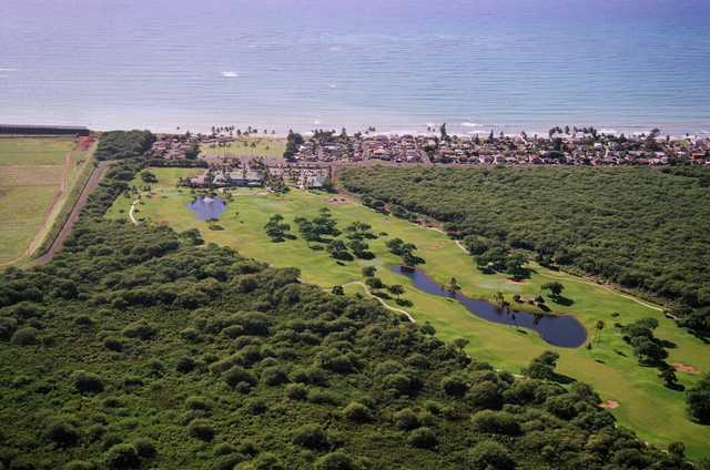 Ewa Beach GC: Aerial view toward the ocean