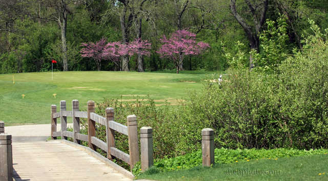 A view over the bridge of a green at Deer Path Golf Course